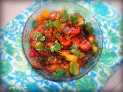 Paneer ( Cottage cheese) with green, red, and yellow bell pepper